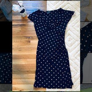 Ralph Lauren Navy Polka Dot Midi Dress Size 8
